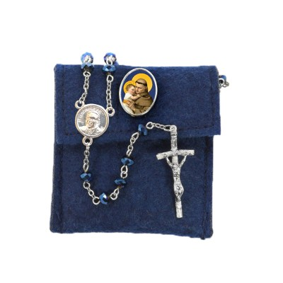 "Pochette in felt with pin ""SAINT ANTONY"" and crystal glass rosary"