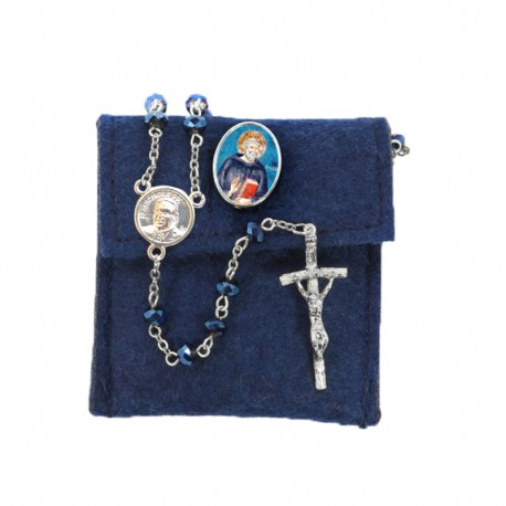 """Pochette in felt with pin """"SAINT BENEDICT"""" and crystal glass rosary"""