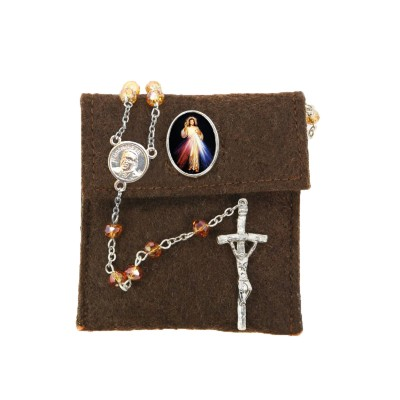 "Pochette in felt with pin ""MERCIFUL JESUS"" and crystal glass rosary"
