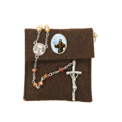 "Pochette in felt with pin ""SAINT FRANCIS"" and crystal glass rosary"