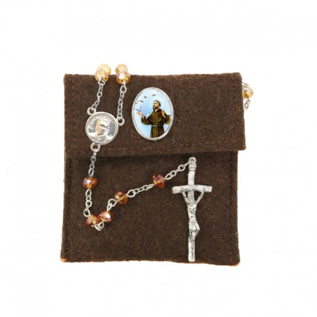 """Pochette in felt with pin """"SAINT FRANCIS"""" and crystal glass rosary"""