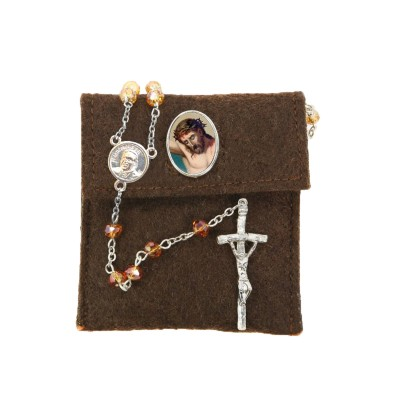 "Pochette in felt with pin ""THE HOLY FACE"" and crystal glass rosary"
