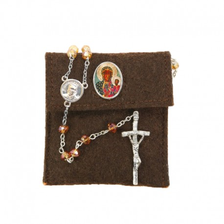 "Pochette in felt with pin ""OUR LADY OF CZESTOCHOWA"" and crystal glass rosary"