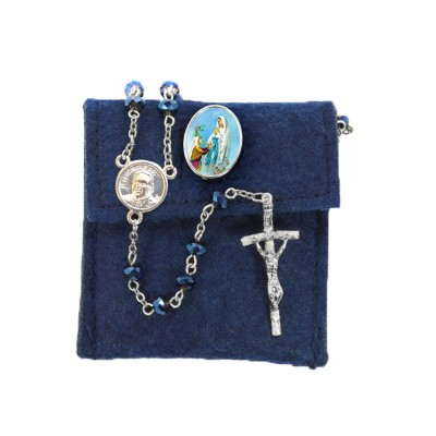 "Pochette in felt with pin ""OUR LADY OF LOURDES"" and crystal glass rosary"