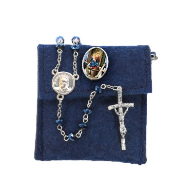 "Pochette in felt with pin ""OUR LADY OF THE ROSARY"" and crystal glass rosary"