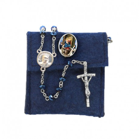 """Pochette in felt with pin """"OUR LADY OF THE ROSARY"""" and crystal glass rosary"""