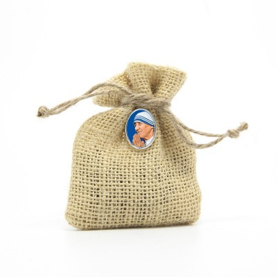 "Wooden Rosary packed in Jute Pouch with pin ""SAINT THERESA"""