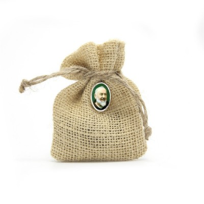 "Wooden Rosary packed in Jute Pouch with pin ""SAINT PIO"""