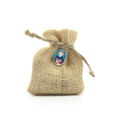 "Wooden Rosary packed in Jute Pouch with pin ""SAINT BENEDICT"""