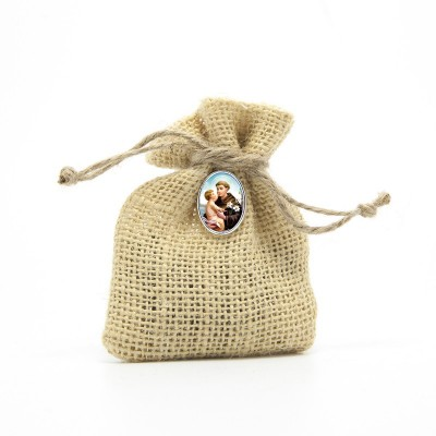 "Wooden Rosary packed in Jute Pouch with pin ""SAINT ANTONY"""