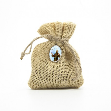 "Wooden Rosary packed in Jute Pouch with pin ""SAINT FRANCIS"""
