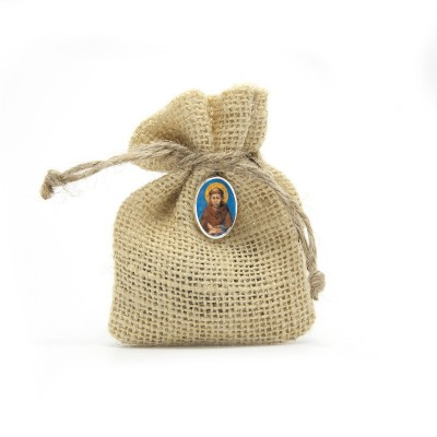 "Wooden Rosary packed in Jute Pouch with pin ""SAINT FRANCIS CIMABUE"""