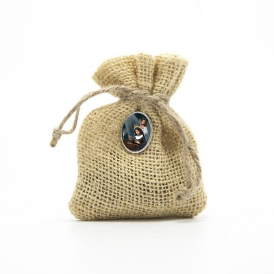 "Wooden Rosary packed in Jute Pouch with pin ""SAINT RITA"""