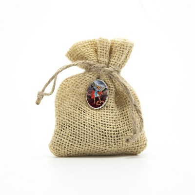 "Wooden Rosary packed in Jute Pouch with pin ""SAINT MICHAEL ARCHANGEL"""