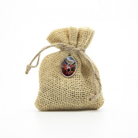 """Wooden Rosary packed in Jute Pouch with pin """"SAINT MICHAEL ARCHANGEL"""""""