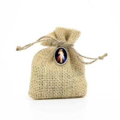 "Wooden Rosary packed in Jute Pouch with pin ""MERCIFUL JESUS"""
