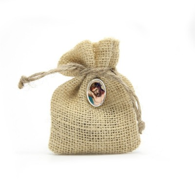 "Wooden Rosary packed in Jute Pouch with pin ""HOLY FACE OF JESUS"""