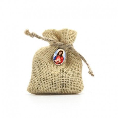"Wooden Rosary packed in Jute Pouch with pin ""SACRED HEART OF JESUS"""