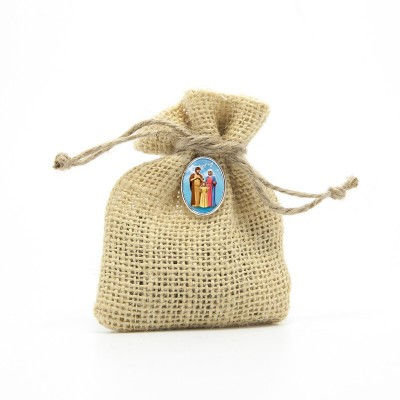 "Wooden Rosary packed in Jute Pouch with pin ""HOLY FAMILY"""