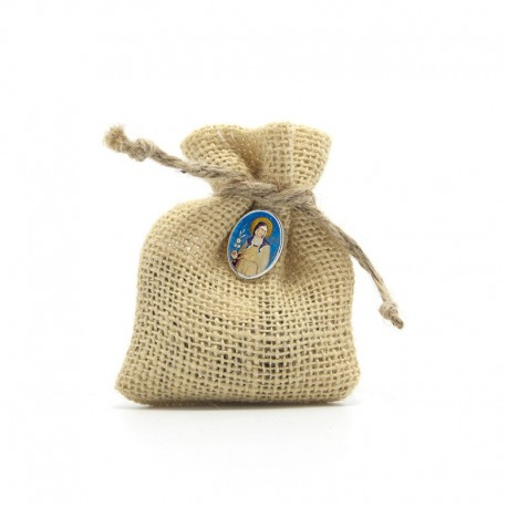"""Wooden Rosary packed in Jute Pouch with pin """"SAINT CLAIRE"""""""