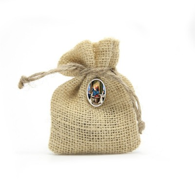 "Wooden Rosary packed in Jute Pouch with pin ""OUR LADY OF THE ROSARY"""