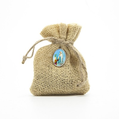 "Wooden Rosary packed in Jute Pouch with pin ""OUR LADY OF LOURDES"""
