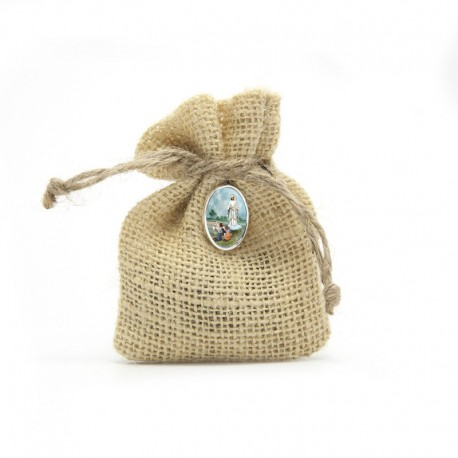 "Wooden Rosary packed in Jute Pouch with pin ""OUR LADY OF FATIMA"""