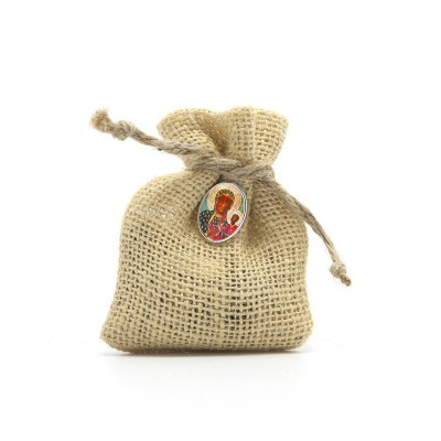 "Wooden Rosary packed in Jute Pouch with pin ""OUR LADY OF CZESTOCHOWA"""