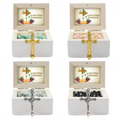 Wooden Jewellery case with glass Rosary - 64 FIRST COMMUNION