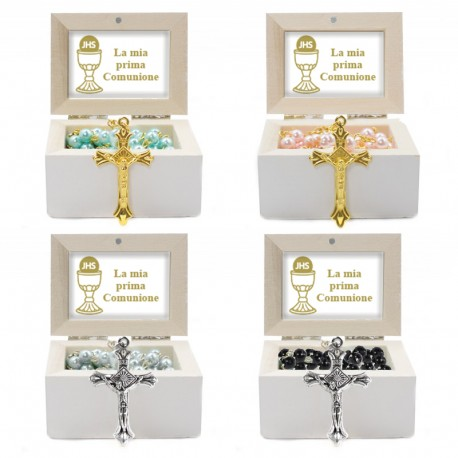 Wooden Jewellery case with glass Rosary - 24 FIRST COMMUNION