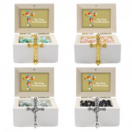 Wooden Jewellery case with glass Rosary - 62 - First Communion