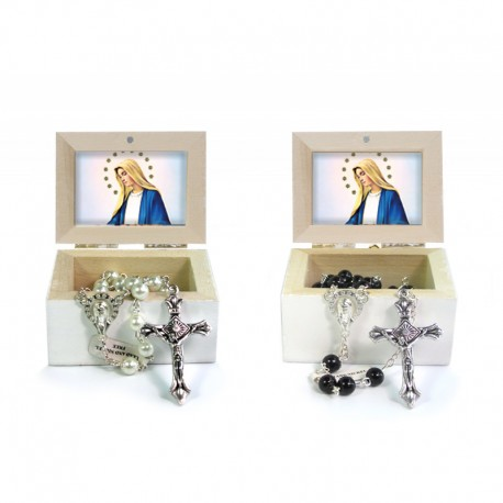 Wooden Jewellery case with glass Rosary - 11 MIRACULOUS MADONNA