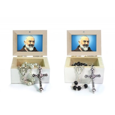 Wooden Jewellery case with glass Rosary - 25 SAINT PIO