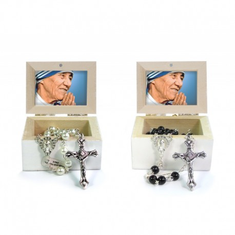 Wooden Jewellery case with glass Rosary 6mm - 6 SAINT THERESA OF CALCUTTA