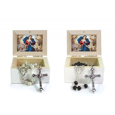 Wooden Jewellery case with glass Rosary 6mm - 19 OUR LADY UNTIER OF KNOTS