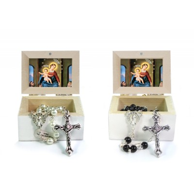 Wooden Jewellery case with glass Rosary 6mm - 20 OUR LADY OF ROSARY