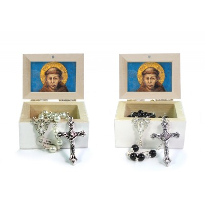 Wooden Jewellery case with glass Rosary 6mm - 22 SAINT FRANCIS cimabue