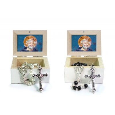 Wooden Jewellery case with glass Rosary 6mm - 21 SAINT BENEDETTO