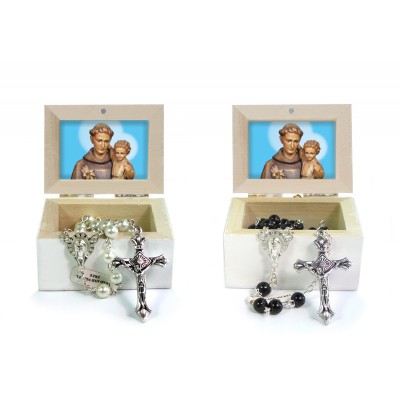 Wooden Jewellery case with glass Rosary 6mm - 16 SAINT ANTONY