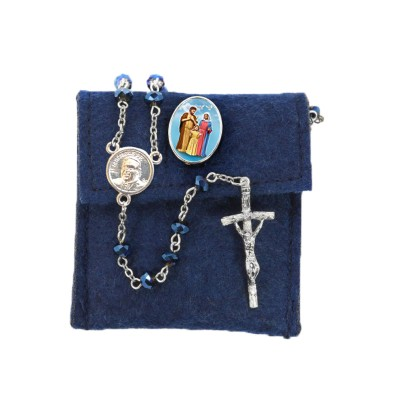 "Pochette in felt with pin ""HOLY FAMILY"" and crystal glass rosary"