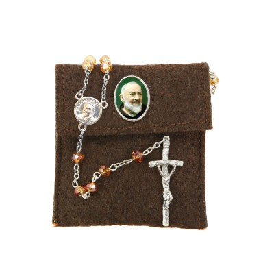 "Pochette in felt with pin ""SAINT PIO"" and crystal glass rosary"