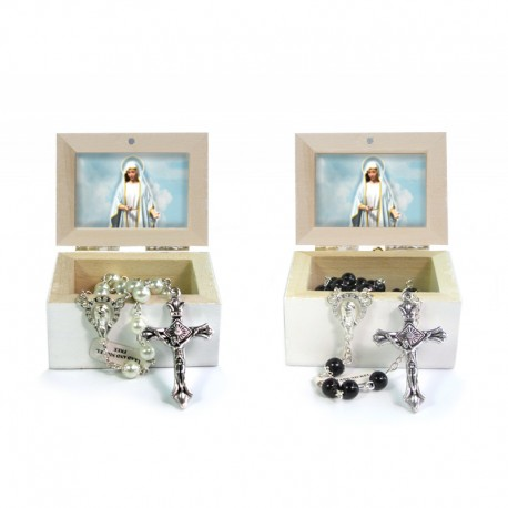 Wooden Jewellery case with glass Rosary 6mm - 74 OUR LADY OF FATIMA