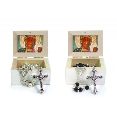 Wooden Jewellery case with glass Rosary 6mm - 18 OUR LADY OF CZESTOCHOWA