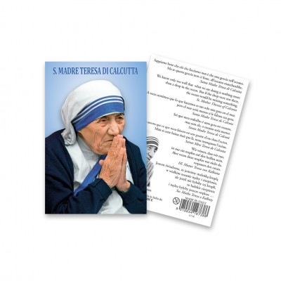 """Immagine sacra """"Santa Teresa di Calcutta"""" con preghiera - Multilingua"""