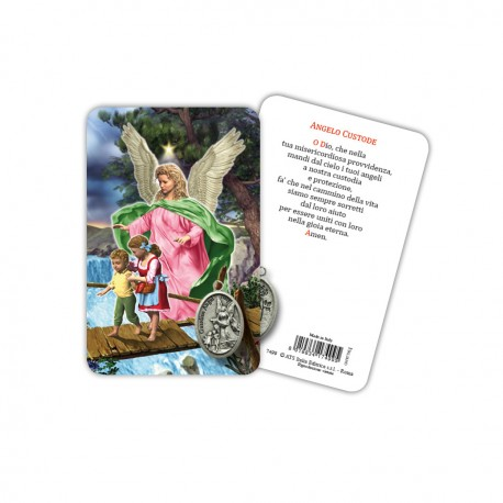 Guardian Angel - Laminated prayer card with medal