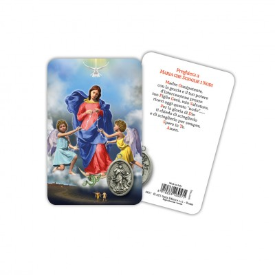 Our Lady Untier of Knots - Laminated prayer card with medal