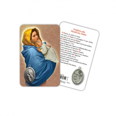 Madonnina - Laminated prayer card with medal