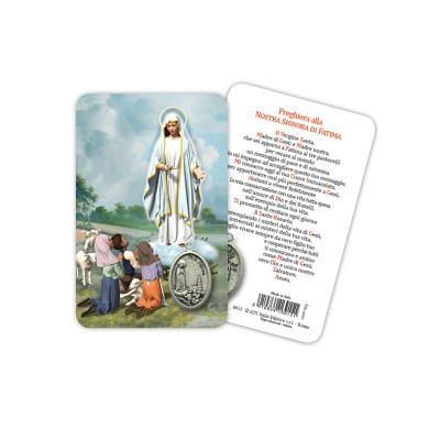 Our Lady of Fatima - Plasticized religious card with medal