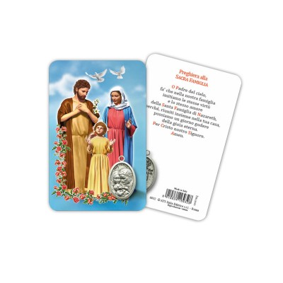 Holy Family - Plasticized religious card with medal