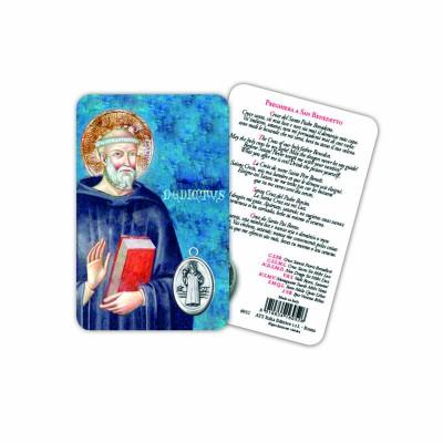Saint Benedict - Laminated prayer card with medal